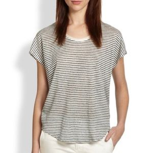 Vince Linen Striped Short Sleeve Tee Scoop Neck M